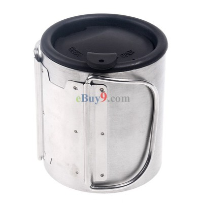 Silver Portable Stainless Steel 100ML Water Cup for Camping Hiking Mountaineering-As picture