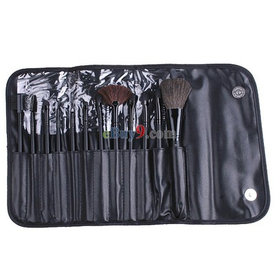 12 PCS Makeup Brush Set + Black Pouch Bag}-As picture