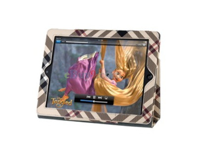 SF812 Plaid Pattern Leather Protective Hard Case Skin Cover for Apple iPad 2 (Yellow)-As picture
