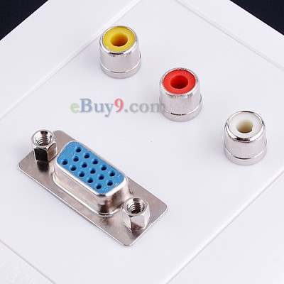1 x M/F VGA 3 x AV Wall Plate Coupler Socket Panel-As picture