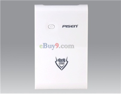 Pisen Rechargeable 10000mAh Mobile Power Bank for iPad, iPhone (White)}-As picture