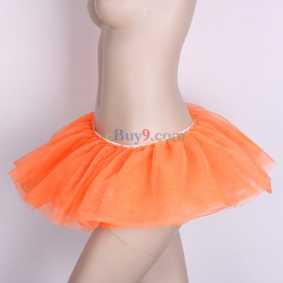 Orange Ballet Cyber Rave Tutu Tulle Mini Skirt Lingerie Party Dress-As picture