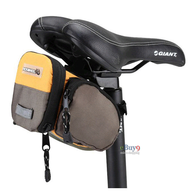 ROSWHEEL bike bicycle cycling leather ribbon tail bag saddle bag seat pouch}-yellow