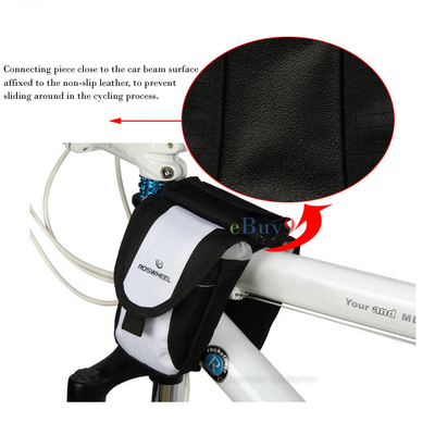 2012 New Bike Saddle bag Cycling Bicycle Bag Panniers Frame Rack Tube}-White