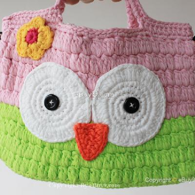 Girl Kids Handmade Crochet Cute Owl Handbag Purse Bag kmgahb Bme14w-As picture
