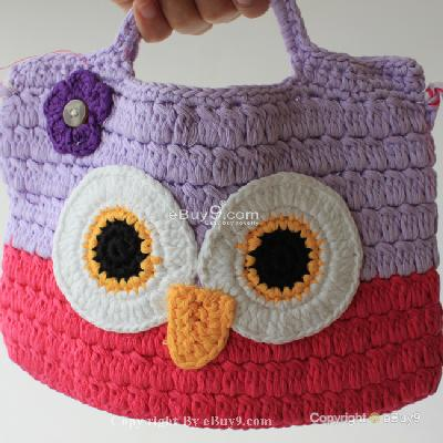 Girl Kids Handmade Crochet Cute Owl Handbag Purse Bag Bmm71w-As picture