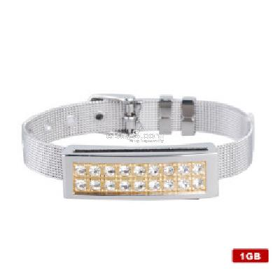 Stainless Steel Crystal USB 2.0 Flash Drive Bracelet (1GB) B107865-As picture