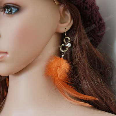 Sexy Vintage Orange Long Dangle Feather Earring CSehw-yellow