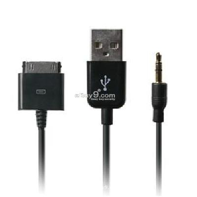 3.5mm USB Car Data Sync Charging Cable for iPhone 4G 3G 3GS iPod Touch iPod Nano (Black)  CE63B-Black