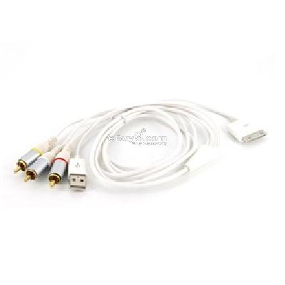 av usb video cable for apple iphone 3g (white) cdr132w-White