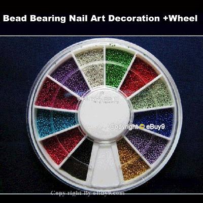 12 Colour Ball Bead Nail Art Decoration  Wheel hs CaiZw-As picture