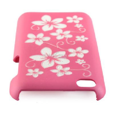 protective plastic back case with laser etching flower pattern for iphone 4 CFI181070-As picture