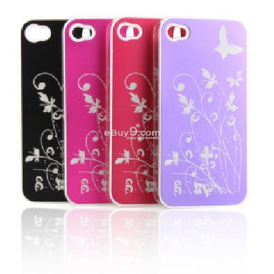 Batterfly and Flower Pattern Metle Protective Hard Case for iPhone4 CFI186224-As picture