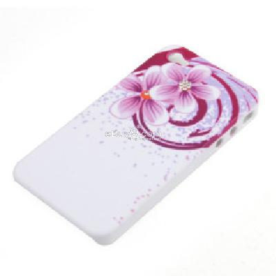 stylish flower pattern with crystal protective case for iphone 4 CFI208360-As picture