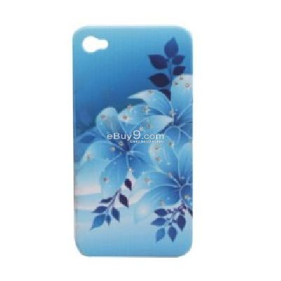 stylish flower pattern with crystal protective case for iphone 4 CFI208366-As picture