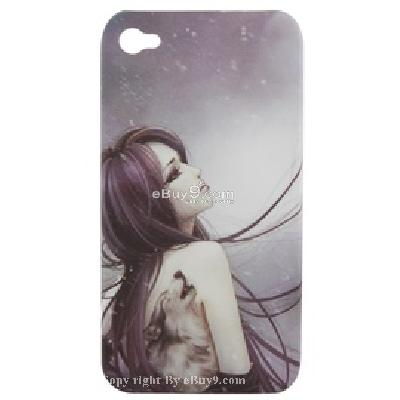 tk-0708 colorful (girl image) plastic cover skin case for iphone 4g C563X-As picture