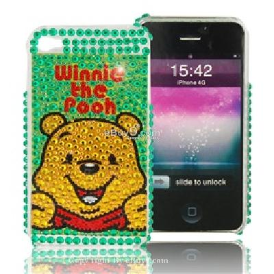 winnie the pooh crystal back cover skin case for apple iphone 4g C689G-As picture
