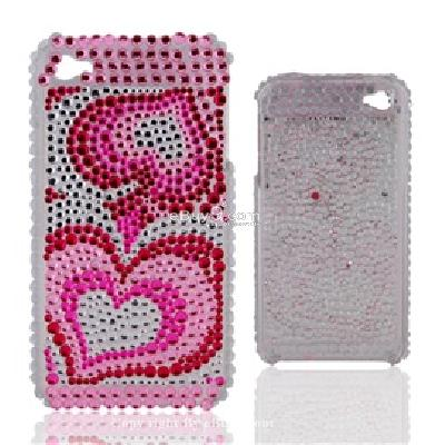 crystal two peach hearts pattern shaped plastic back skin case cover shell for iphone 4g C808P-As picture