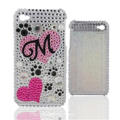 crystal & pearl gm peach hearts pattern shaped plastic back skin case cover shell for iphone 4g C811S-As picture