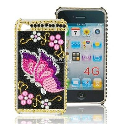 butterfly pattern hard back case cover with crystal for apple iphone 4g C834X-As picture