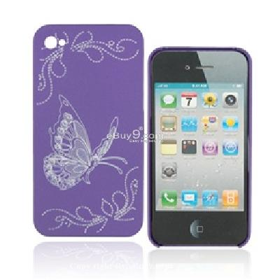 protective laser engraving butterfly pattern hard back cover skin case shell for iphone 4g C969U-As picture