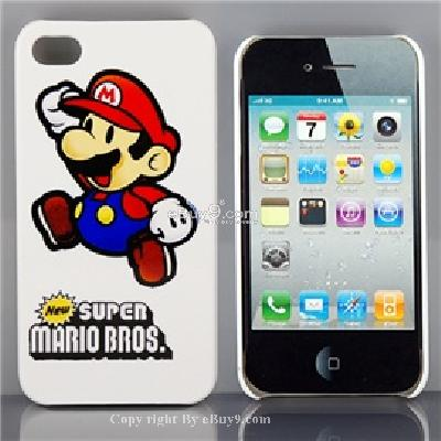 plastic Super mario calaxy pattern back skin cover case with supporting stand for iphone 4 CC20X-As picture