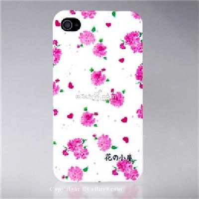 durable plastic flowers design open-face iphone 4 case CN42X-As picture