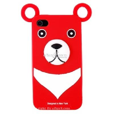 cute bear protective silicon case for iphone4 CV13R-As picture