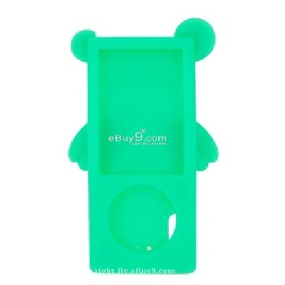 angel silicone case cover for ipod nano 5th (green) cs155g-Green