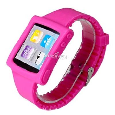 silicone wrist watch band strap case for ipod nano 6th gen mp3 player cs171p-As picture