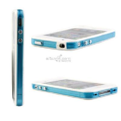 Bumper Case for iPhone 4 (White+ Blue) CFI172198-As picture