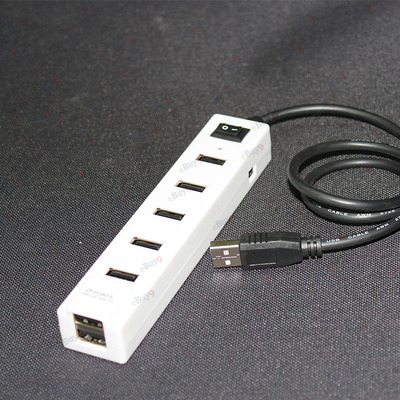 7 Ports USB 2.0 HUB with Switch High Speed Transfer Rate:480Mbps White WD191665-White
