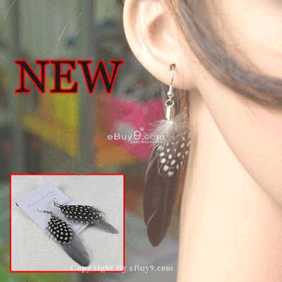 1 Pair Stylish Goose Feather Pierced Earrings cbdpu DEMw-Black