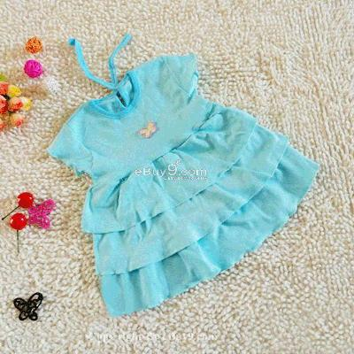 1 pcs NWT baby Girl Cake Party Dress Clothes-Blue