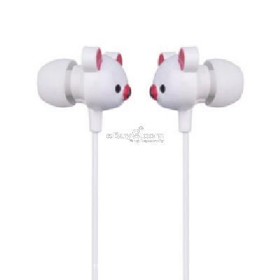 Cute Bear Stereo Earphones (White) E118397-White