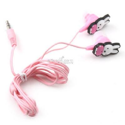 Rabbit In-Ear Stereo Earphone for MP3 MP4 (Pink) E200283-Pink