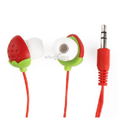 Cute Strawberry Noise Isolation In-Ear Earphone (3.5mm Jack 110CM-Cable) E231185-As picture