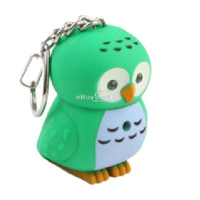 Owl Keychain with LED Flashlight and Sound Effects -As picture