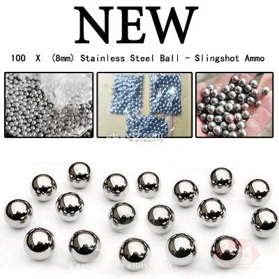 200 X (8mm) Stainless Steel Ball Slingshot Ammo GZuuw-Silver