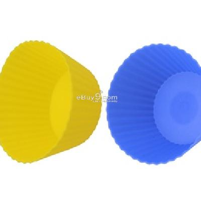 6-Piece Bright Color Silicone Cake Cups J0287X-Yellow & Blue
