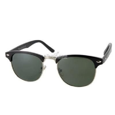 Silver and Black Frame Dark Green Lens UV400 Anti-ultraviolet Sunglasses P905B-Black