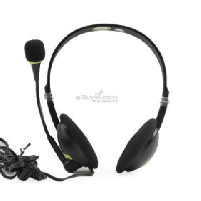3.5mm Jack Multimedia Headphone with 90-Degree-Swivel Microphone (Black) H205042-Black