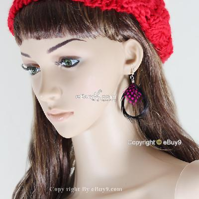 hot Unique black serrated red dot Feather Earrings JDehw-As picture