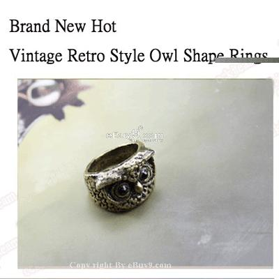 Hot 2 x New Vintage Retro Style Owl Shape Rings jzs JZ2w-Coffee