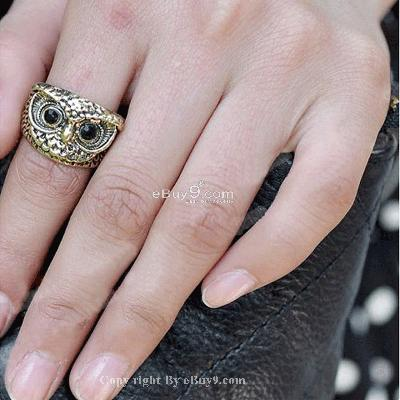 NEW 5 x Hot Vintage Retro Style Owl Shape Rings JZ5w-Coffee