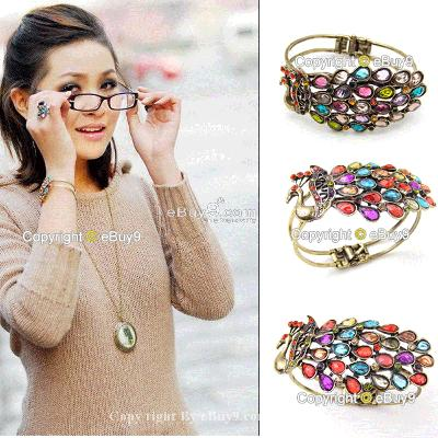 HOT 1X Colorful Rhinestone Peacock Bracelet Bangle KszQw-As picture
