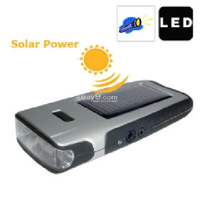 9900 Solar Power Super LED Flashlight with Mobile Phone Charging Output and USB Charging Port -As picture