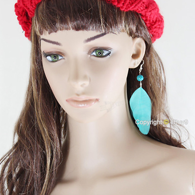 New Green Fashion Drop Goose Feather Earrings LEMw-Blue