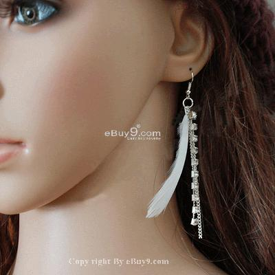 1 pairs White Color Drop Tassel Feather Earring LSehw-White