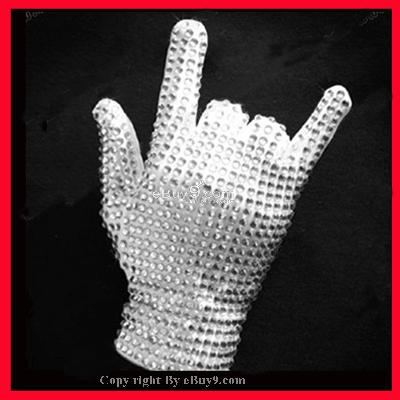 HOT MICHAEL JACKSON MJ Glove Crystal Commemorative MJw}-White